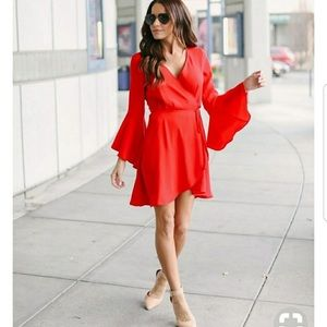 Vici wrap bright red dress.